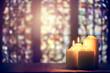 Leinwandbild Motiv Candles in a church background
