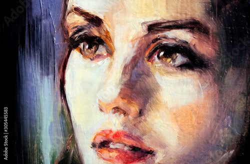 Face in oils Canvas Print