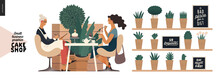 Cake Shop, Cakes On Demand - Small Business Graphics - Baker And Customer -modern Flat Vector Concept Illustrations -a Seller Filling In The Demand Form A Customer Sitting In The Armchairs In The Shop