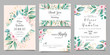 Delicate wedding invitation card template set with watercolor floral and gold glitter decoration. Flowers and leaves botanic illustration for background, save the date, invitation, greeting card