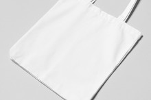 White Tote Bag Mockup On A Gre...