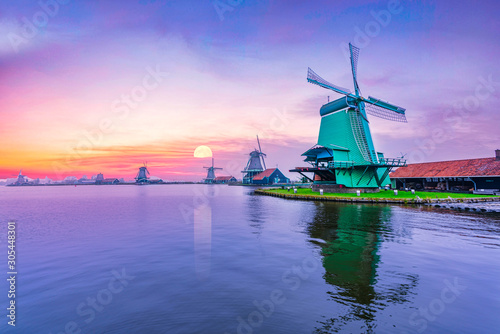 Dutch countryside with windmills