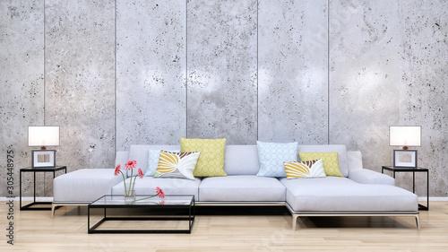 Spoed Foto op Canvas Wanddecoratie met eigen foto large luxury modern minimal bright interiors room mockup illustration 3D rendering