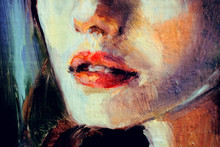 Beautiful Red Lips Of A Young Woman, Portrait In Oils, Close Up