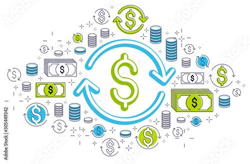 Obraz na plátně  Dollar sign and loop arrow, currency exchange, return on investment, insurance concept, refund, stock market, refinance, vector design
