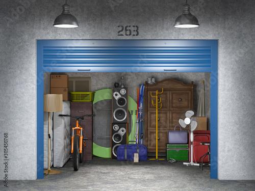Fototapeta storage with open doors 3d illustration obraz