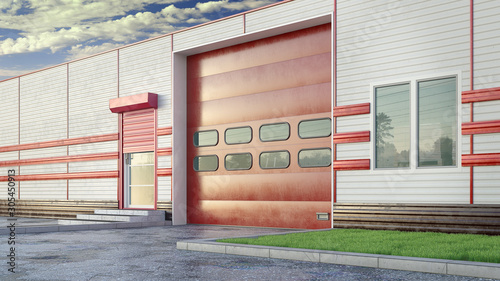 Foto Hangar exterior with sectional gate. 3d illustration