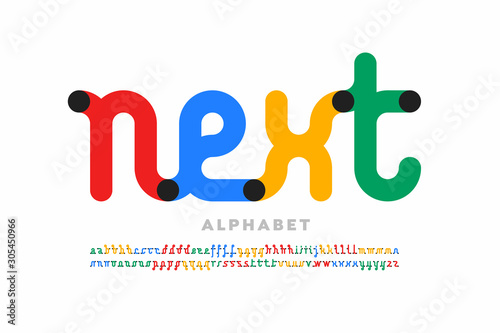 Tela One line style font design, single continuous line alphabet