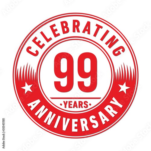 99 years anniversary celebration logo template Poster Mural XXL