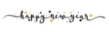 HAPPY NEW YEAR Black And Gold Vector Brush Calligraphy Banner With Swashes And Stars