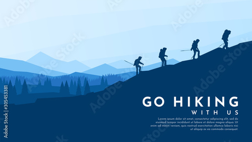 Foto auf AluDibond Blaue Nacht Vector blue background. Travel concept of discovering, exploring and observing nature. Hiking. Adventure tourism. Flat design template of gift card, web banner, invitation, poster, website. Landscape