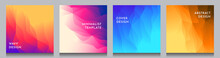 Abstract Vector Geometric Triangle Background. Minimalistic Color Gradient Lines. Set Of Vibrant Wallpapers. UI Design. Polygonal Square Covers Template. Future Concept. Social Media Templates