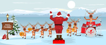 Santa Claus And Reindeers With Musical Instruments New Year Christmas Orchestra Concert On Winter Landscape Scenery. Vector Illustration.