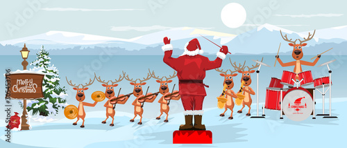 Foto auf AluDibond Licht blau Santa Claus and reindeers with musical instruments New year christmas Orchestra concert on winter landscape scenery. Vector illustration.