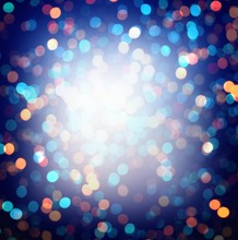 New Year Night Party Lights Blurred Texture. Festive Dark Blue Glitter Background. Red Yellow Pink Bokeh Abstract Empty Template.