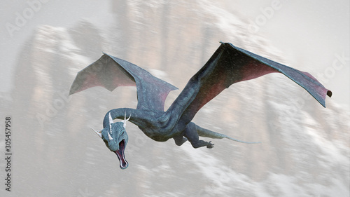 dragon, legendary creature flying through the mountains Canvas Print