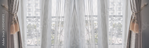Photo White blinds curtain decoration on the door with copy space.