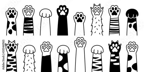 Cat paw vector dog paw cat breed vector doodle illustration character Fototapeta
