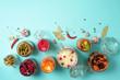 Leinwanddruck Bild - Assortment of various fermented and marinated food over blue background, copy space. Top view. Banner. Fermented vegetables, sauerkraut, pepper, garlic, beetroot, korean carrot, cucumber kimchi