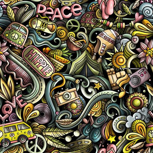 Fotografia Hippie hand drawn doodles seamless pattern. Hippy background.