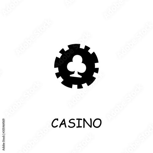 Casino, Poker Chip flat vector icon Canvas Print