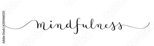 Canvas Prints Positive Typography MINDFULNESS black vector brush calligraphy banner with swashes