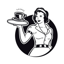 Retro Waitress Serving Coffee Clipart Illustration. Diner Waitress