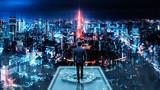 Fototapeta Miasto - Business man on future network city