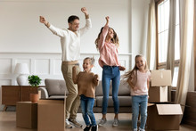 Funny Parents And Kids Dancing Celebrating Moving Day