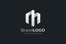 Hexagon Letter M Construction Architecture Building Logo. Flat Vector Logo Design Template Element