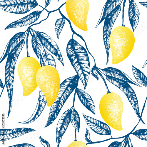 Tapety do aneksu kuchennego  vector-seamless-pattern-with-yellow-mangoes-fruits-on-the-tree-hand-drawn-thai-mango-and-blue