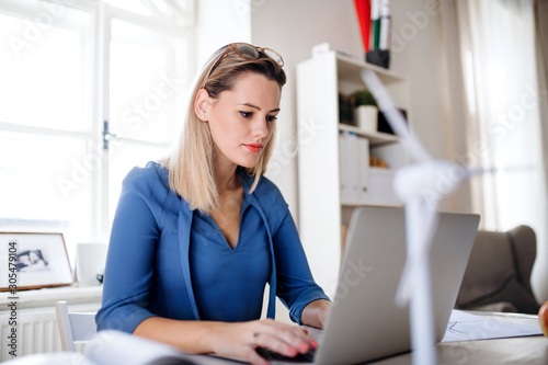 Fotomural Young woman with laptop sitting at the desk indoors in home office, working