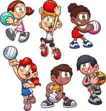 Cartoon Boys And Girls Playing...