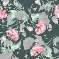 Fototapeta Peonie Seamless peony pattern with buds U.jpg
