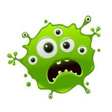 Vector Bacteria Cartoon Face