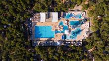 Aerial View Above Of Aquapark Full Of People, Mali Losinj, Croatia.