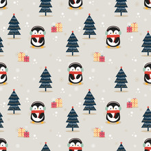 Cute Penguin In Christmas Seas...