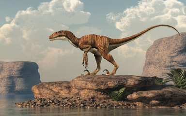 Deinonychus is a theropod dinosaur, a cousin of velociraptor, that lived during the Cretaceous. Here depicted with no feathers bay an arid lake. 3D Rendering