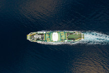 Aerial View Of A Big Ferry Cro...