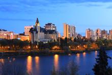 Saskatoon, Canada City Center At Night