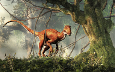 Deinonychus is a theropod dinosaur, a cousin of velociraptor, that lived during the Cretaceous. Here depicted with no feathers in a dense jungle. 3D Rendering