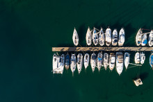 Aerial View Above Of Boats Anc...