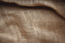 Burlap Brown As A Background Image. Top View, Copy Space