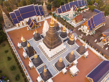 Aerial View Of Wat Ban Den Temple Complex Near Chiang Mai In Thailand.