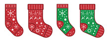 Red And Green Christmas Socks Decorated With A Pattern