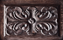 Wooden Floral Relief Carved Pa...
