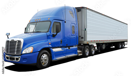 Fotografiet Big truck Freightliner Cascadia with blue cab Isolated on a white background