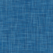 Denim French Linen Texture Background.  Indigo Blue Dye Fibre Seamless Pattern. Organic Yarn Close Up Weave Effect Fabric For Masculine Jeans Textile Wallpaper, Packaging. Vector EPS10 Repeat Tile