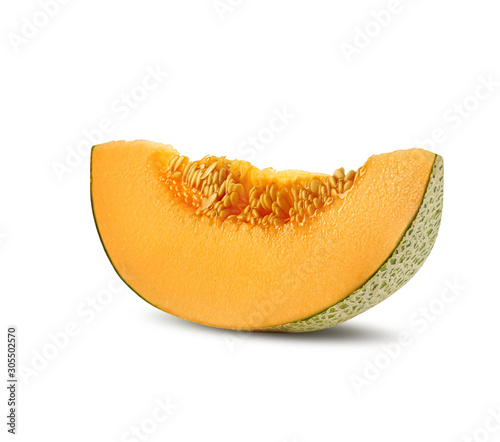 Obraz na płótnie Slice of delicious cantaloupe melon in a cross-section, isolated on white background with copy space for text or images