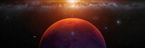 planet Mars with monns Phobos and Deimos, sunrise on the red planet